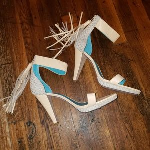 Nwot Shoes of Prey Ankle Strap Tassel Heels EUR46